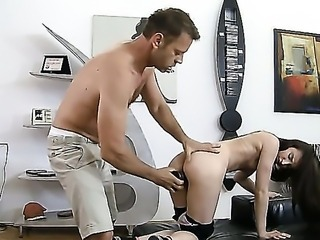 Rocco Siffredi has already found another victim of his ravenous dick. This is a tiny petite Dori. Rocco works out her pussy and ass, then give her a black big dildo to satisfy by herself.