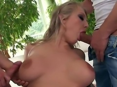 Threesome porn with horny blondie Kayla Green getting double penetrated would...