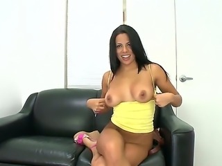 Sweet Latina babe is revealing her big ass and boobs at a porn casting and...