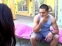 Raquel Devine meets a young man at her backyard who was looking a baseball...