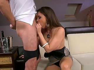 Superb and buxom brunette Aletta Ocean lets her mouth and pussy to be pounded by her fan