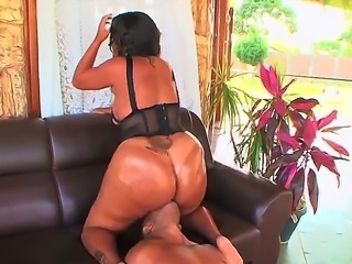 Turned on teasing sexy Sandra Bum Bum with enormously big ass gets her shaved cunt licked and swallows fat monster cock in amazing hardcore session with tattooed black bull.