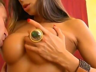 Busty brunette Kayla Carrera enjoys sucking and fucking Jack Lawrences huge cock