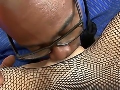 White bitch Eva F stays in fishnet ripped black pantyhose. She is spreading...