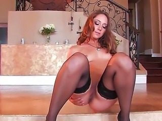 Teen Remy LaCroix has amazing slender body. Today this young porn star spreads her legs, dresses in hot stockings and touches her tight hole on the camera.