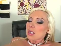 Nice blonde babe with huge titties Skylar Price is seduced by her coworker...