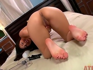 Turned on sexy Nicole Ferrera with big round ass and long hair gets naked and stretches her pink fish lips to prepare for big buzzing vibrator in solo fantasy.