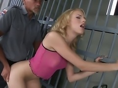 Bad blonde girl Berinice gets fucked by prison guard in her super tight asshole