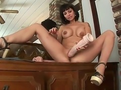 Wild and appetizing brunette Carrie Ann demonstrates us her arsenal of huge...