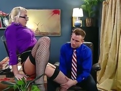 Handsome boss Bill Bailey gets seduced by smoking hot blonde secretary Leya...