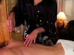 Sweet blonde masseuse Ivana Sugar oils and rubs her client and gets horny, so...