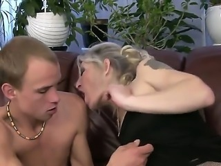 Angeline is one horny grandma that recently has found a young boy that needs to be fucked, though he is very skinny granny knows hot to use his dick and take out if it everything.