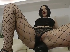 Extremely wild brunette Romana looks like real whore and enjoys rough fucking...