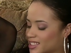 Precious brunette teen chick Simone Claire dressed up in hot fishnet blouse and black sexy stockings got her puss licked off and then fucked hard!