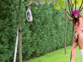 Beautiful teen babe with an amazing fit body Guerlain is solo posing on camera at the backyard of her house, having everyone who wants to see her do this.