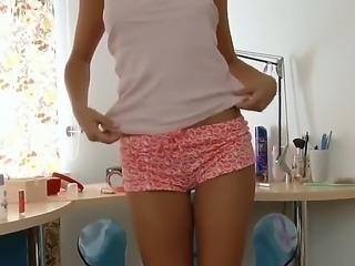 Handsome brunette teen with tanned body and small tits Meddie shows her talents in the bedroom