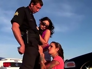 Two gorgeous brunette pornstar Angelina Valintine and Roxy Jezel sucks to the policeman Jordan Ash