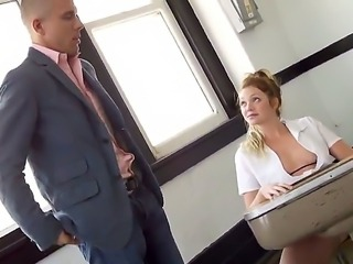 The sympathetic blonde pornstar Jessie Andrews with a small tits gets seduced by the Mick Blue