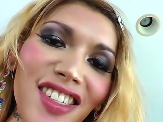 Voluptuous blonde shemale Eva Lin having fun with handsome Gabriel A