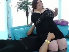 Very hot bbw with enormous boobs likes to facesit her man and get her tits licked by him