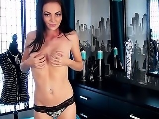 Adorable tall brunette Crystal Star slowly takes off her sexy lingerie and...