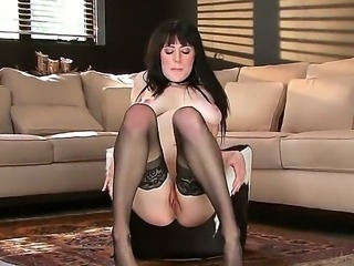 Masturbation scene from Samantha Bentley wouldnt leave you disappointed. The brunette gal stays in black stockings and black high heels before caressing wet twat.