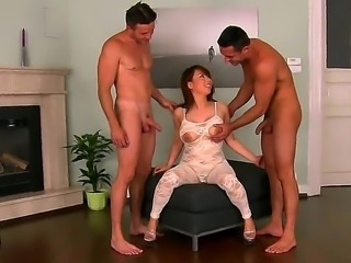 Them Asians Sexy Tigerr Benson is here to get down the kinky way. Watch her cut through her white patterned bodystocking and pleasure horny studs Chucky and Renato at once!