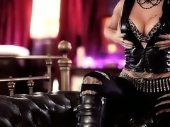 Goth dressed in leather Mai Bailey