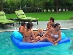 This pool party attended by Anna Marie and Denise Everhart is going to be a...