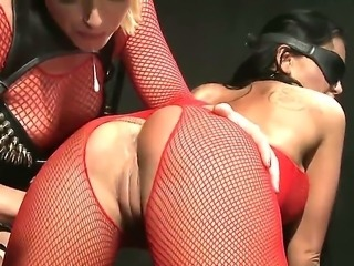 Naughty babes Christina Bella and Kathia Nobili are playing wild female domination games. One chick is staying on all fours while another one is sticking dildo in her sweet slits.