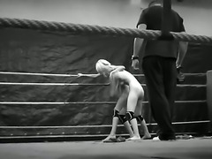 Spend unforgettable time watching this so hot black-and-white video clip right now! Here you would find two beauties becoming nude and starting battle on a boxing ring.