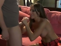 Beautiful brunette Lizz Tayler was invited by her boyfriends best friend and...