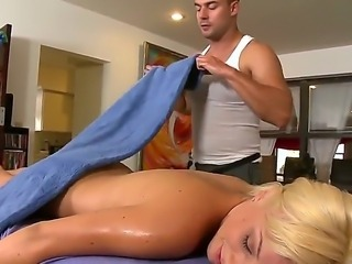 Blonde cougar Lexi Swallow enjoy more than just a massage along this male