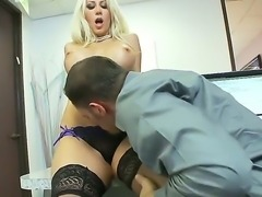The seductive blonde Jazy Berlin with the big appetizing tits engaged in oral...