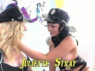 Bailey Jay and Juliette Stray are two cop babes hiding some extra clubs in their little thongs. See them chilling together in this awesome shemale-on-shemale sex scene!