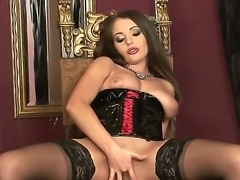 Gorgeous babe Zara is solo masturbating in her pretty brand new stockings