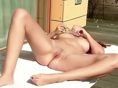 Winsome chick Connie with pinkish pussy rubs it using her hardcore long dildo