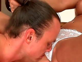 Satin Bloom shows her slutty side to hot dude Cage by taking his rock hard sausage in her mouth