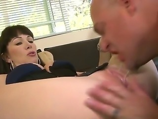 The hot milf whore Ally Jordan in a seductive lingerie sucks to her friend Ray Veness