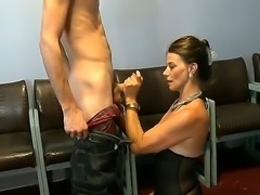 Very horny milf demonstrates her very hot skills of how to satisfy a cock of...