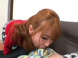 Asian teen with great apetite for hard sex Rion Ogura enjoys deep blowjob
