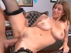 Arousing secretary with huge tits Sara Stone pleases hunk Billy Glide with...