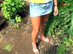 Amateur girl with shaved pussy and straight legs walks in a park. Rose Sin...