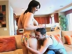 Heavy chested brunette Beverly Hills with juicy ass gives head to her fucker...