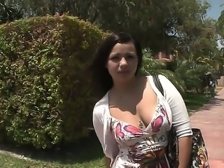 Chubby amateur brunette babe Isabella Bones with naturla juicy tits gets filmed on street by filthy dudes