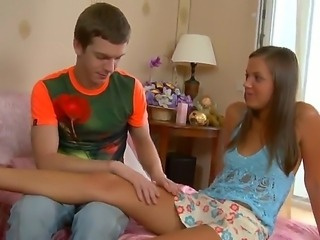 The attractive and very appetizing teen blonde Katrina gets seduced and sucks a cock