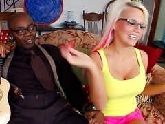 Busty blonde Jacky Joy realizes her old dream to be fucked by huge and black...