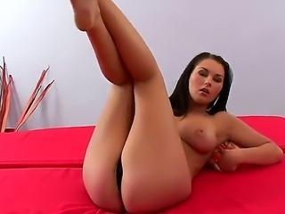 Antonya tugs aways the black panties from the wet spot, bares the lovely female sex parts and puts the palm on it. Then her finger start to move towards the direction of her moist hole.