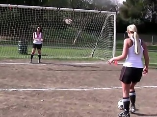 The attractive and very happy pornstars Carmella Bing, Justin Magnum and Phoenix Marie play football