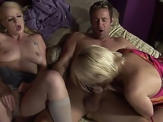 Anita Blue and her mother Raquel Sieb sucking huge cock and share sperm in...